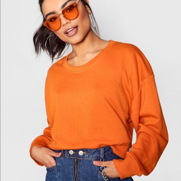 c71ada6446e630 Boohoo Sweaters | Orange Cropped Sweatshirt | Poshmark